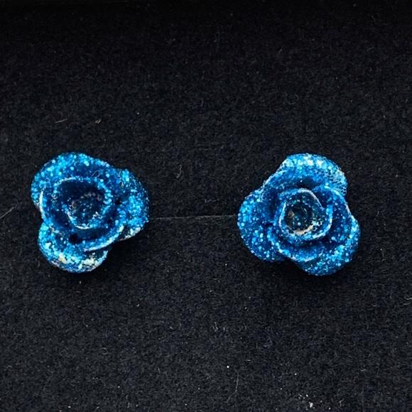 Tiny Blue Rose Glitter Stud Earrings